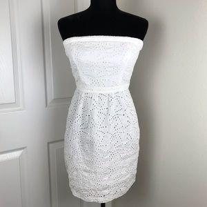 Gap white eyelet strapless dress